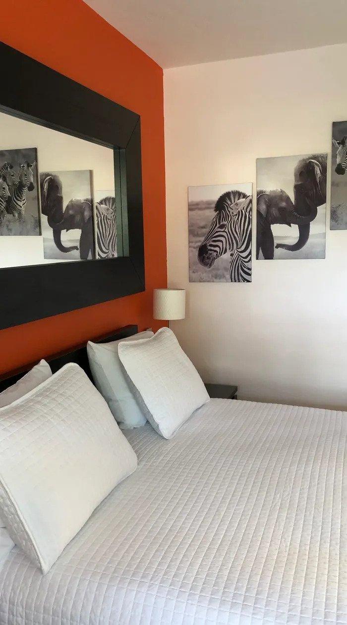 Whtie Horse Motel - Double Bedroom - Zebra Scenery - Elephant Scenery - Mirror on the Wall