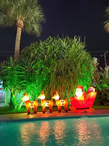 White Horse Motel- Swimming Pool -Christmas decorations